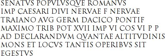 Text Of The Inscription On Trajans Column Rome